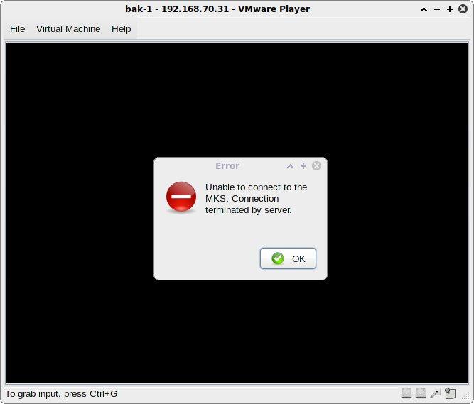 VMware Player: MKS error message
